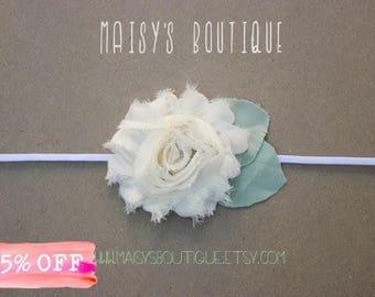 75% Off Ivory Shabby Flower Headband/ Newborn Headband/ Baby Headband/ Flower Girl/ Wedding/ Photo Prop