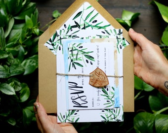 Watercolor Tropical Flower Wedding Invitation: Olive Branches