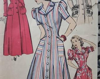 Hollywood Patterns 1946, 40s Dress. Evening Coat, Housecoat, Housedress