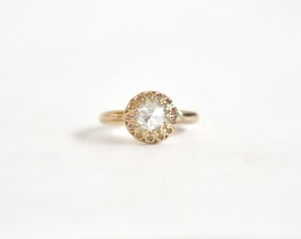 Diamond Engagement Ring- Unique Engagement Ring- 14k Yellow Gold Crown Ring- Rose-cut Diamond Clear Colorless- Dainty Engagement Ring