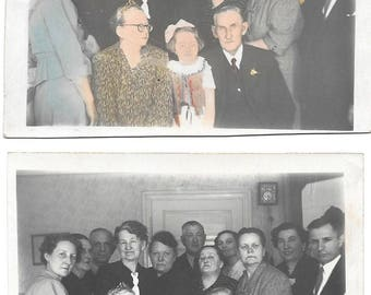 2 Vintage Photos - Family Celebration - 1950s Poland - Sepia and Colorized Sepia Real Photograph