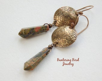 Stone Point Earrings, Hammered Brass with Earthy Unakite Dangle, Mehndi Design with Aged Patina