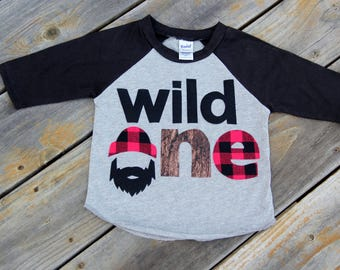 Wild One Lumberjack First Birthday Raglan, First Birthday Shirt, Lumberjack Birthday, Buffalo Check Shirt, One Shirt, Wilderness Man, Logger