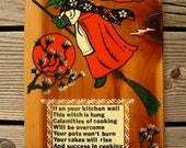 Vintage Kitchen Witch Charm Key Rack - Tionesta Pennsylvania Wooden Souvenir Wall Hanging - Good Luck Cooking Mascot - Cottage Witch