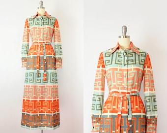 vintage 70s ANNE FOGARTY dress / 1970s graphic print maxi dress / Greek key print dress / orange blue shirt waist dress / designer 70s dress