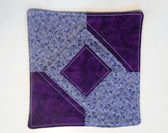 "Purple Mug Mat, Mug Rug, Drink Coaster, Fabric Coaster, Snack Mat, Quited Coaster, Mini Quilt, Candle Mat, 6 1/2""  x 6 3/4"", #125"
