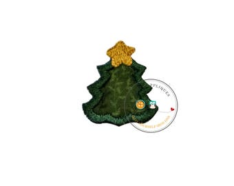 tiny Christmas tree, mini tree, small, holiday, iron on applique, socks, fabric patch, heat press, ready to ship, embellishmentjunkies