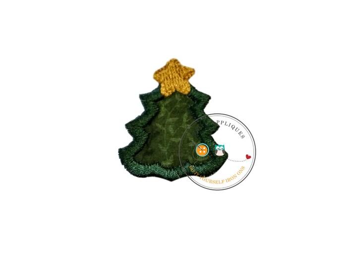 tiny Christmas tree, mini tree, small, holiday, iron on applique, socks, fabric patch, heat press, ready to ship, embellishmentjunkies