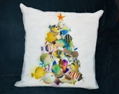 CHRISTMAS PILLOW, Tropical Fish, Tropical Christmas, Colorful Fish, Saltwater Fish, Beach Christmas, Coastal Christmas Decor, Tropical Art