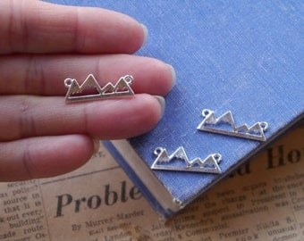 10 pcs Silver Mountain Silhouette Connector Charms Pendants Silver Plated 24mm (SC3115)