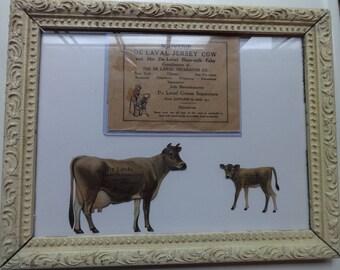 Original Primitive Shabby Chic DeLaval Tin Cow Advertising Set, Envelope C. 1920