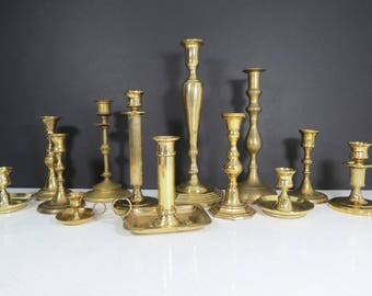 Large Set of Brass Candlesticks // Set of 13 Vintage Assorted Brass Candle Holders Rustic Wedding Decorations Bohemian Centerpiece Eclectic