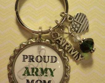Proud Army Mom key chain with charms