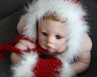 Fur trimmed newborn bonnet and matching hand muff - Xmas, photo prop, Newborn Christmas, newborn hat, red bonnet white trim, Xmas outfit