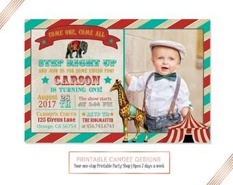Circus Birthday Invitation, Vintage Circus Invite, Carnival Party, Red Teal Circus Birthday, Circus Printables, Circus 1st Birthday