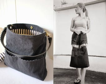 Shoulder bag, Tote bag, Washed black jeans bag with leather strap