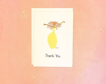Handmade Thank You Card with Woman in Yellow Dress