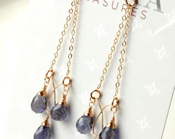 Iolite Chandelier Earrings, 14kt Goldfilled wire wrapped violet blue gemstone, boho style long chain chandeliers, holiday gift for her, 4455