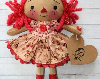 Valentine's Day Pink Birdie Be Mine Annie - Primitive Raggedy Ann Doll (HAFAIR)