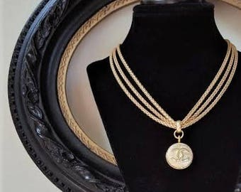 Repurposed Chanel Button Necklace, Multi Chain Necklace Satin Gold Choker with Iconic Designer Insignia, Button Jewelry veryDonna