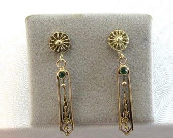 Antique Pierced Drop Earrings, Dangle Earrings, Antique Dangle Earrings, Antique Pierced Earrings, Antique Drop Earrings, Antique Earrings