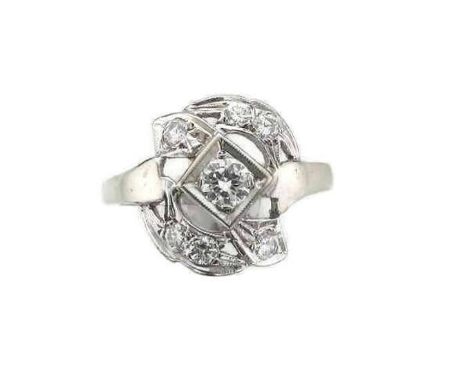 White Gold Diamond Ring, Vintage Ring, 1950's Diamond Ring, Cocktail Ring, Dinner Ring, Diamond Cocktail Ring, Vintage Diamond Ring