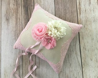 Ring bearer pillow, natural linen and pink lace wedding ring bearer pillow
