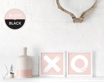 XO A3 Art Print Pair, Kiss and Hug Poster Set of 2, Blush Pink Prints, Monochrome, Black and White, Hug and Kiss, Minimal, Gifts for Her