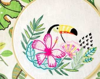 Embroidery pattern, Tropical leaf, Hand embroidery, Tropical bird, Toucan, Flowers embroidery by NaiveNeedle