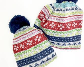 Matching Pom Pom Hat, Multi Stripe Winter Hat, Women and Kids, Winter Pom Pom Hat, Sweater Knit Women's Hat, Hat Kid's Pom Pom Ball, Pom Hat