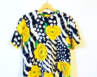 Navy Dot and Saffron Floral Blouse / Vintage Boxy Blouse / Bold Statement Blouse / Zebra Stripe Polka Dot Blouse