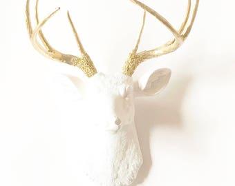 Deer Head WHITE-GoLD, Faux Taxidermy Deer Head, Animal Head Wall Mount, White Faux Animal Head, Stag Head wall mount, Mounted Deer Head