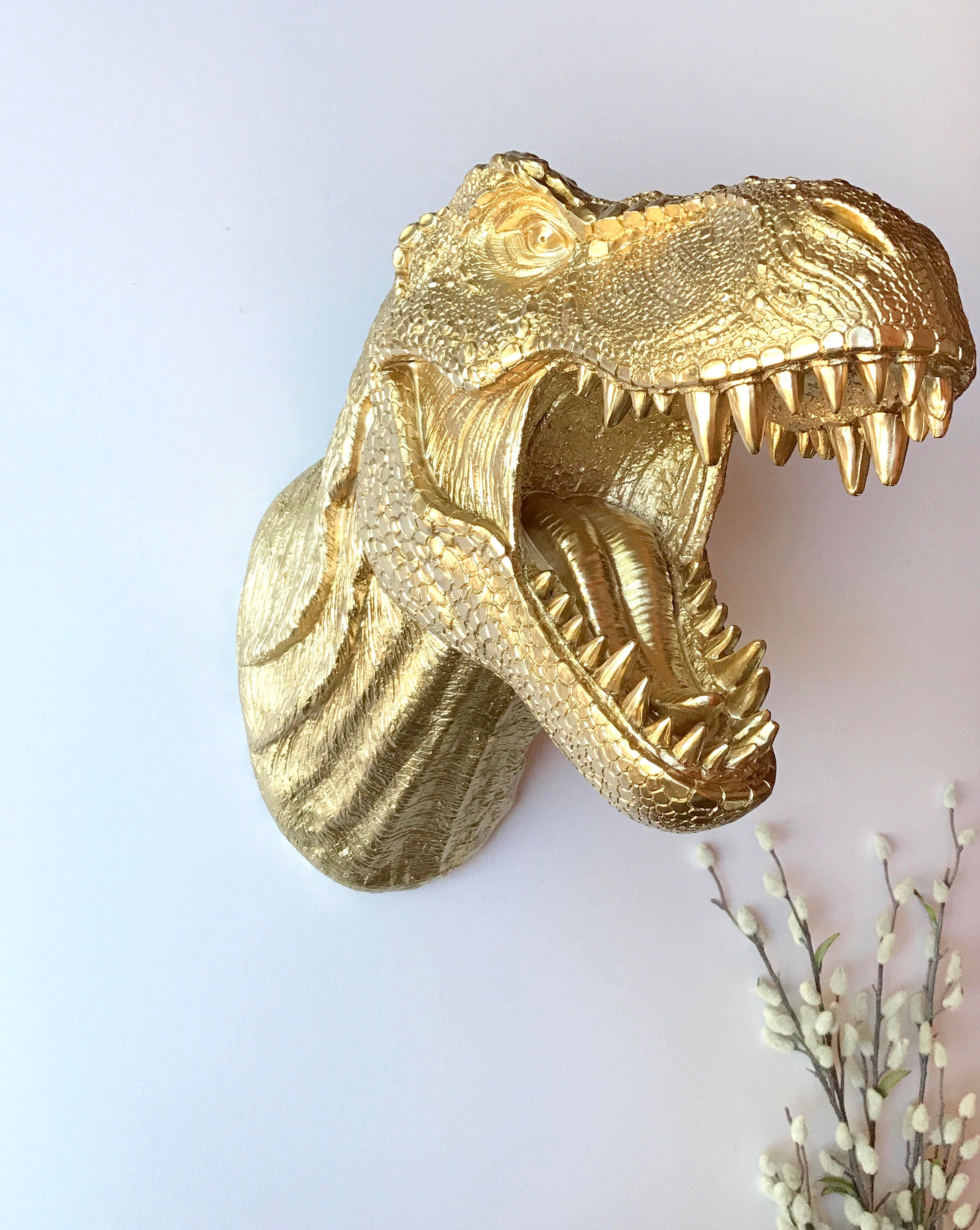 GOLD Large T Rex Dinosaur Head wall mount faux animal head wall ...