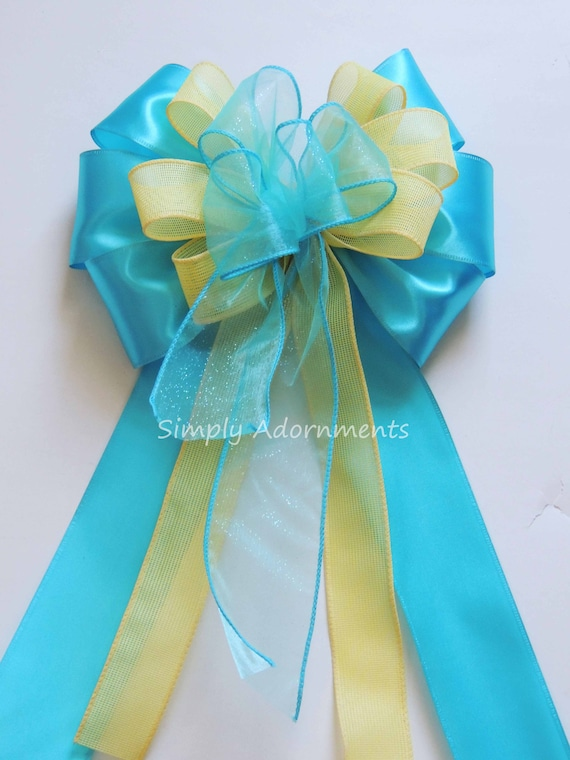 Blue Yellow Baby Shower Party Decor Yellow Turquoise Wedding Pew Bow Blue Yellow Ceremony Decor Church Aisle Pew Bow Bridal Shower Party Dec