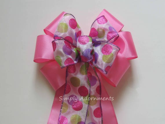 Purple Pink Lime Polka Dots Easter Wreath Bow Multicolored Polka Dots Baby Shower Polka Dots Birthday Party Decor Easter Gift Bow Door Bow