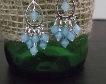 Sterling Silver Baby Blue Chandelier Earrings Crystal Earrings Bridesmaid Bridal Earrings