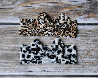 Cheetah Print Headband - animal print Headband - Baby Girl Headband - Baby head wrap - knotted headwrap - toddler headband