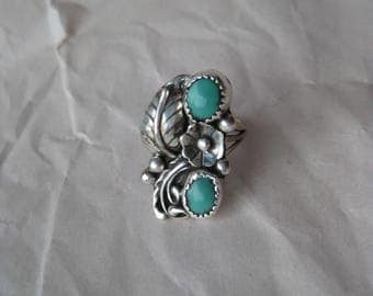 Turquoise Flower Sterling Ring Vintage Two Stone 925 Silver Size 7 Native American L M