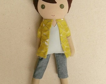 Fabric Doll Rag Doll Brown Haired Boy in Yellow and Gray Sailboat Shirt with Gray Chambray Shorts and Sneakers