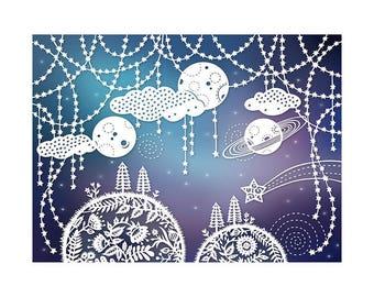 Outer Space - 8x10 Print - Original Papercut Illustration - Fine Art Print