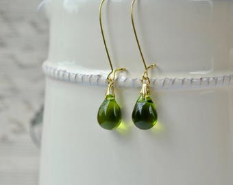 Long Olive Earrings, Green Drop Earrings, Olive Jewelry, Green Glass Earrings, Green & Gold, Gifts under 10, Birthday Present for Her
