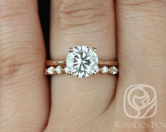 Rosados Box Skinny Flora 8mm & Cher 14kt Rose Gold Round F1- Moissanite and Diamond Tulip Cathedral Solitaire Wedding Set