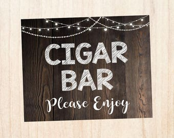 Cigar Bar sign. wedding cigar favors sign. PRINTABLE wedding favors sign. rustic wedding sign. cigar. smoke. cigar lounge.