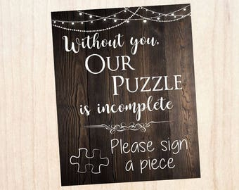Wedding Puzzle Guest book sign. PRINTABLE. rustic wedding. puzzle is incomplete. please sign a piece. wedding puzzle guest book sign.