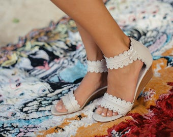 MAGDALENA. Bridal wedges / leather wedge shoes / wedge sandals / women shoes / bohemoian style. Sizes 35-43. Available in different colors