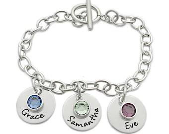 Personalized Charm Bracelet - Personalized Jewelry - Engraved Jewelry - Mother's Day - Charm Bracelet - Names Bracelet - Chain Link - 1032
