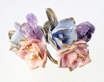 FREE Shipping Vintage Porcelain Rose Ear Screw Earrings Pink blue purple pastel Clip On Lavender Purple Leaf Leaves Gold Bouquet Bridal love