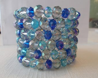 6 Row Memory Wire Cuff Bracelet with Blue/Green Crystal Beads