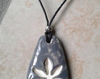 Gray Marijuana Leaf Ceramic Aromatherapy Necklace Essential Oil Diffuser Pendant Cannabis Clay Pottery