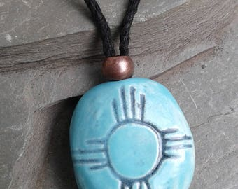 Turquoise Zia Sun Ceramic Necklace Native American Hopi Pendant Stone Petroglyph Amulet